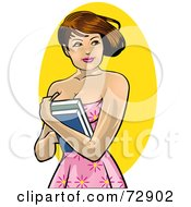Royalty Free RF Clipart Illustration Of A Pretty Brunette College Woman Holding Her Books To Her Chest