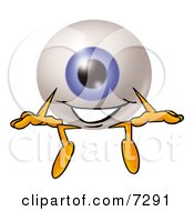 Eyeball Mascot Cartoon Character Sitting