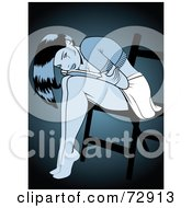 Royalty Free RF Clipart Illustration Of A Depressed Pinup Woman Leaning Over In A Chair Over Teal