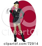 Royalty Free RF Clipart Illustration Of A Sexy Dutch Woman Holding A Whip Over A Red Oval