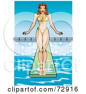 Royalty Free RF Clipart Illustration Of A Sexy Pinup Woman Standing At The Edge Of A Diving Board by r formidable