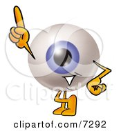 Clipart Picture Of An Eyeball Mascot Cartoon Character Pointing Upwards