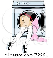 Woman Bending Over And Leaning Inside A Dryer
