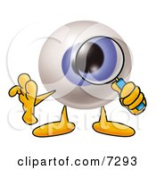 Clipart Picture Of An Eyeball Mascot Cartoon Character Looking Through A Magnifying Glass