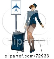 Sexy Pinup Stewardess Woman Pulling Luggage