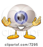 Poster, Art Print Of Eyeball Mascot Cartoon Character With Welcoming Open Arms