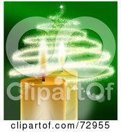 Golden Christmas Candles With A Sparkly Christmas Tree Over Green
