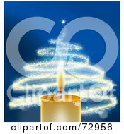 Golden Christmas Candle With A Sparkly Christmas Tree Over Blue