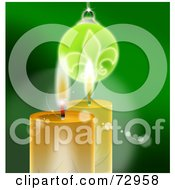 Royalty-Free (RF) Clipart Illustration of Golden Christmas Candles Under A Bauble On Green by MacX