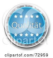 Royalty Free RF Clipart Illustration Of A Blue Qualitat Button With Stars by MacX