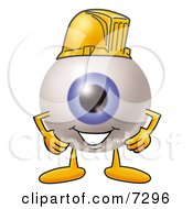 Eyeball Mascot Cartoon Character Wearing A Helmet