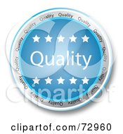 Royalty-Free (RF) Clipart Illustration of a Blue Quality Button With Stars by MacX