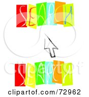 Royalty Free RF Clipart Illustration Of A Computer Cursor Between Colorful Search Words by MacX