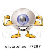 Clipart Picture Of An Eyeball Mascot Cartoon Character Flexing His Arm Muscles by Toons4Biz