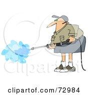 Pressure Washer Man In Shorts And A Khaki Shirt
