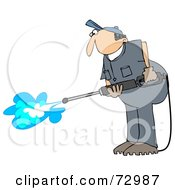 Pressure Washer Man In A Blue Uniform