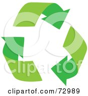 Royalty Free RF Clipart Illustration Of Three Green Arching Recycle Arrows by Rosie Piter