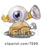 Clipart Picture Of An Eyeball Mascot Cartoon Character Serving A Thanksgiving Turkey On A Platter by Toons4Biz