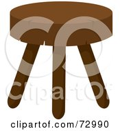Royalty Free RF Clipart Illustration Of A Rustic Wood Stool With Three Legs by Rosie Piter
