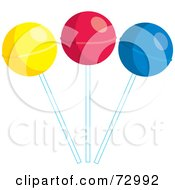 Royalty Free RF Clipart Illustration Of A Trio Of Colorful Suckers by Rosie Piter