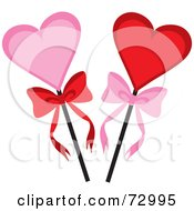 Royalty Free RF Clipart Illustration Of Pink And Red Hearts On A Stick With Bows by Rosie Piter