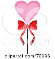 Royalty Free RF Clipart Illustration Of A Pink Heart On A Stick With A Bow by Rosie Piter