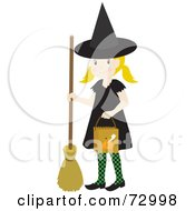 Happy Blond Halloween Witch Girl Trick Or Treating