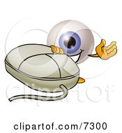 Clipart Picture Of An Eyeball Mascot Cartoon Character With A Computer Mouse by Toons4Biz