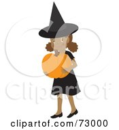Happy Black Girl Carrying A Pumpkin And Wearing A Halloween Witch Costume