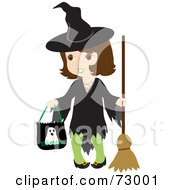 Royalty Free RF Clipart Illustration Of A Happy Brunette Halloween Witch Girl Trick Or Treating
