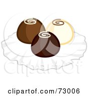 Royalty Free RF Clipart Illustration Of A Trio Of White Milk And Dark Chocolate Truffles by Rosie Piter