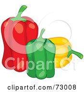 Royalty Free RF Clipart Illustration Of A Trio Of Red Green And Yellow Bell Peppers by Rosie Piter