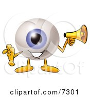 Clipart Picture Of An Eyeball Mascot Cartoon Character Holding A Megaphone by Toons4Biz
