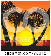 Royalty Free RF Clipart Illustration Of A Tropical Sunset Over The Sea With Silhouetted Palm Trees by Rosie Piter