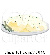 Royalty Free RF Clipart Illustration Of A Dinner Plate Of Fetuccini