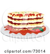 Royalty Free RF Clipart Illustration Of A Dinner Plate Of Lasagna by Rosie Piter