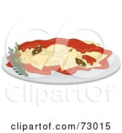 Royalty Free RF Clipart Illustration Of A Dinner Plate Of Ravioli