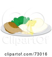 Royalty Free RF Clipart Illustration Of A Plate Of Buttery Mashed Potatoes Broccoli And A Chicken Drumstick by Rosie Piter