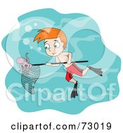 Red Haired David Boy Swimming And Catching An Octopus In A Net