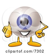 Clipart Picture Of An Eyeball Mascot Cartoon Character Pointing At The Viewer by Toons4Biz