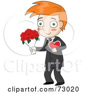 Royalty Free RF Clipart Illustration Of A Red Haired David Boy Carrying A Valentine And Flowers