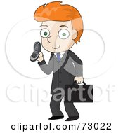 Royalty Free RF Clipart Illustration Of A Red Haired David Boy Businessman Talking On A Cell Phone by Rosie Piter