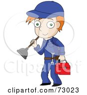 Royalty Free RF Clipart Illustration Of A Red Haired David Boy Plumber Carrying His Tools by Rosie Piter