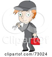 Red Haired David Boy Mechanic Carrying Tools