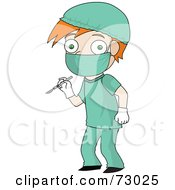Royalty Free RF Clipart Illustration Of A Red Haired David Boy Surgeon In Scrubs