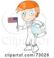 Red Haired David Boy Astronaut Holding An American Flag