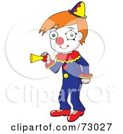 Royalty Free RF Clipart Illustration Of A Red Haired David Boy Clown Honking A Horn