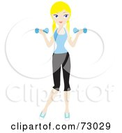 Royalty Free RF Clipart Illustration Of A Healthy Young Blond Woman Lifting Weights