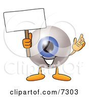 Eyeball Mascot Cartoon Character Holding A Blank Sign