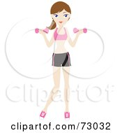 Royalty Free RF Clipart Illustration Of A Healthy Young Brunette Woman Lifting Weights
